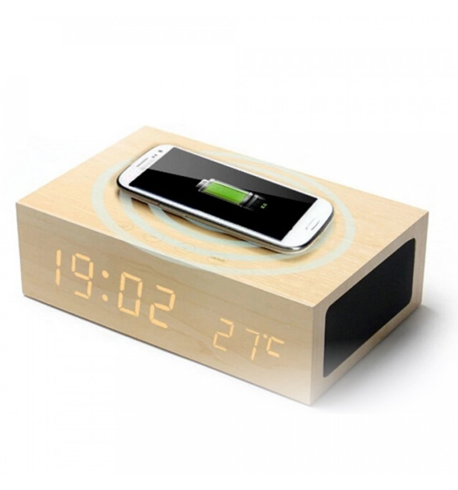 magiq clock r veil bluetooth chargeur induction en bois clair. Black Bedroom Furniture Sets. Home Design Ideas